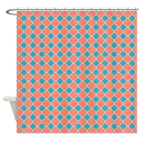 coral and blue shower curtain coral teal blue quatrefoil shower curtain by printcreekstudio