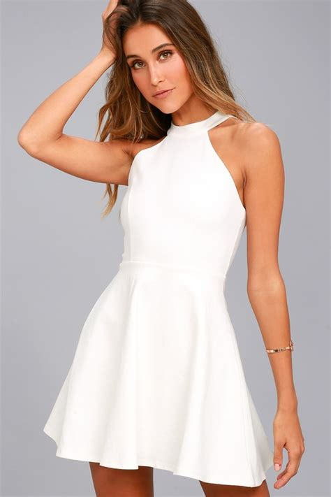 Dress White chic white dress skater dress lace dress halter dress
