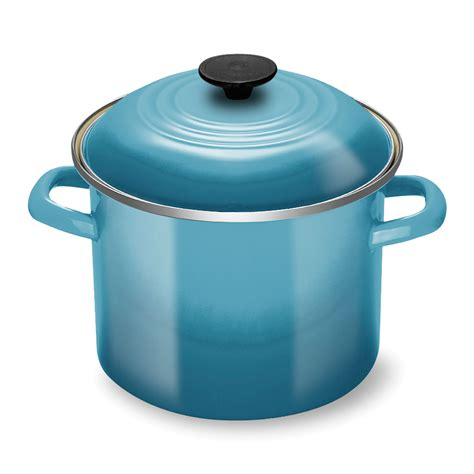 creuset pot le creuset enameled steel stock pot 6 quart caribbean