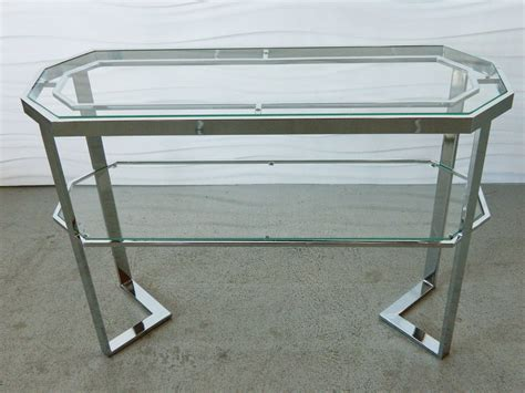 chrome glass console chrome and glass console at 1stdibs