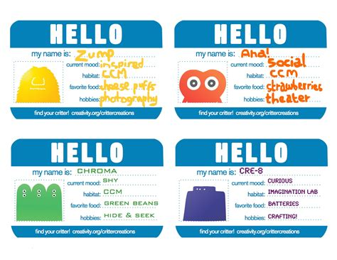 Children S Name Card Templates by Character Design Children S Creativity Museum Education