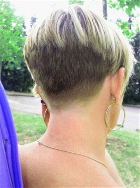 buzzed nape haircuts for women brunette a line bob graduating into a short pointed nape