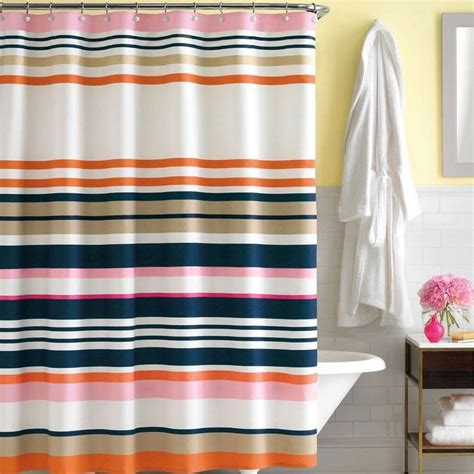 Pink And Navy Curtains Kate Spade Shop Stripe Fabric Shower Curtain Navy Pink Orange White Euc Katespade Modern