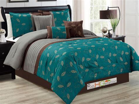 bronze comforter 7 pc leaves scroll vine embroidery comforter set teal