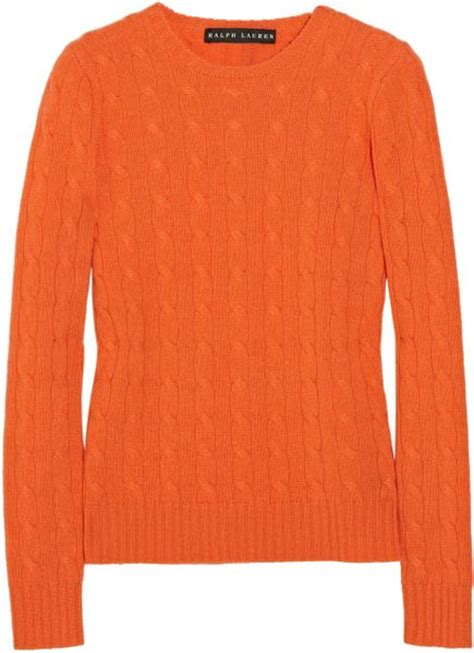 orange cable knit sweater ralph black label cable knit sweater in