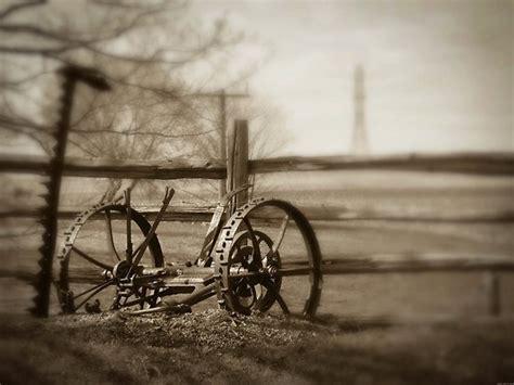 antique farm machinery  horse drawn lawn mower