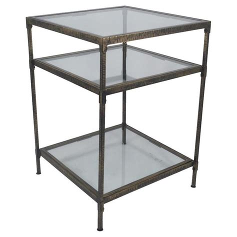 square accent tables threshold square bronze metal and glass accent table