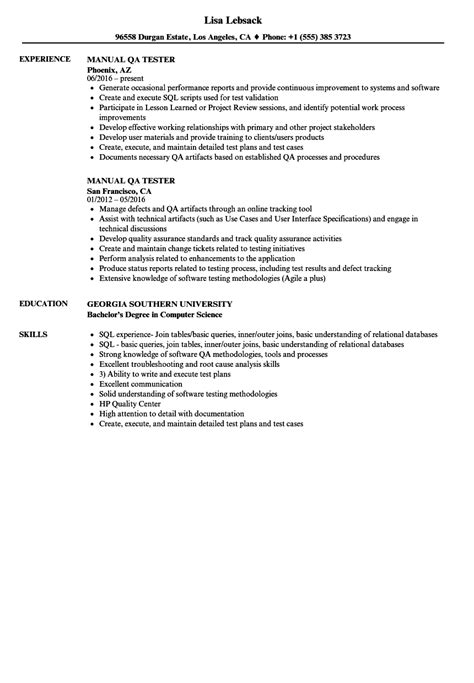 qa tester resume sles financial trainee cover letter