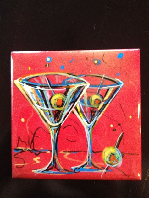 martini glass acrylic painting original martini glass ceramic tile art by rick morkel