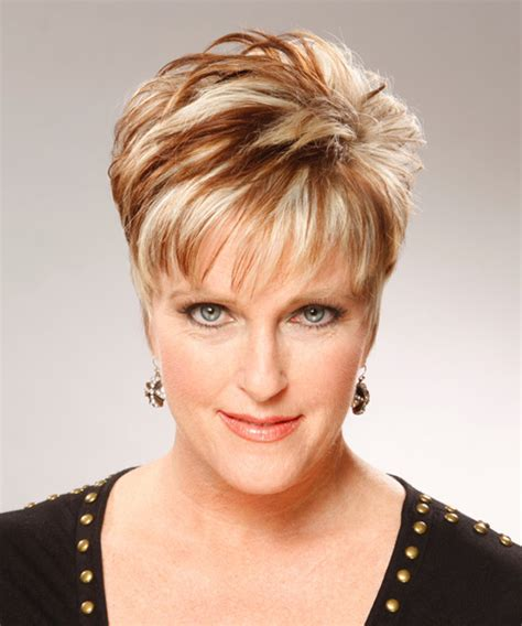 really short hairstyles for women over 65 short straight formal hairstyle dark blonde copper