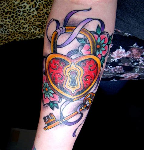 heart shaped tattoos designs designs shaped lock padlock and key