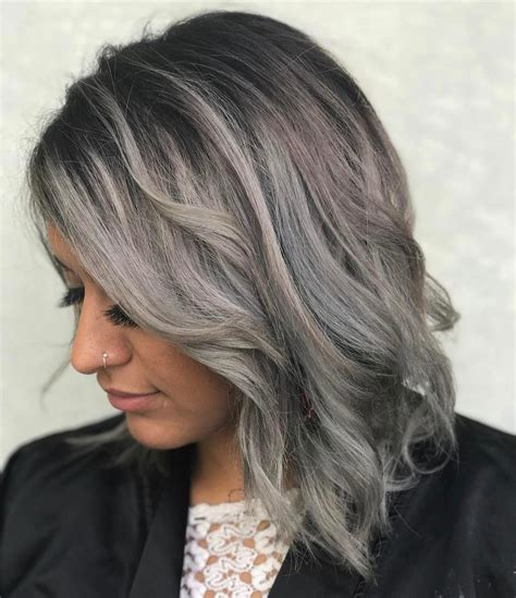 aveda gray hair color dark silver grey hair color with a shadow root and a hint