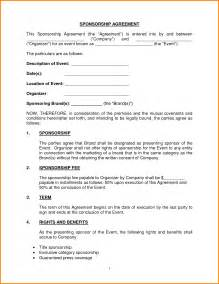 sponsorship agreement template 10 sponsorship agreement letter template word