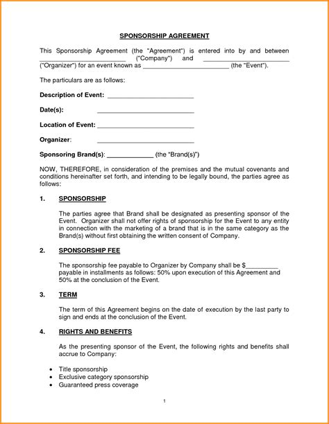 Sponsorship Letter Of Agreement Sponsorship Agreement Form Portablegasgrillweber