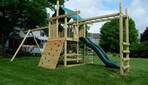 timber swing set plans single with monkey bars