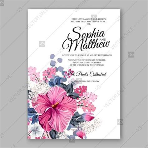 Hibiscus Card Template hibiscus wedding invitation card template 2727589 weddbook