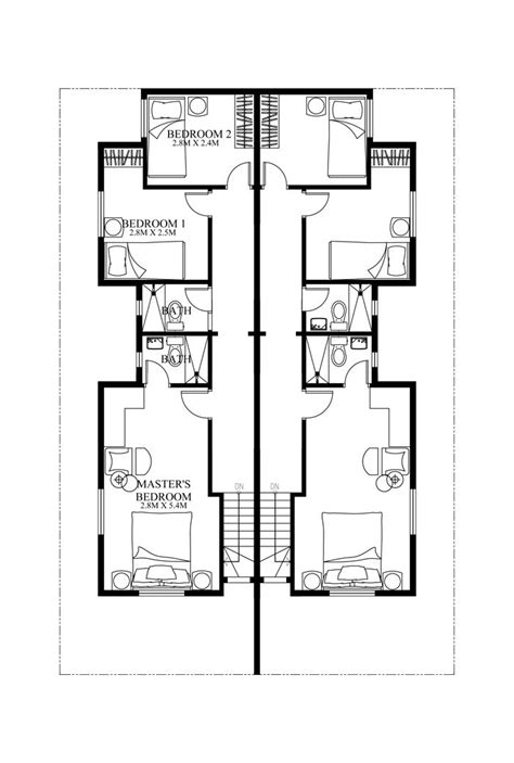 4 Bedroom Duplex Floor Plans by Duplex House Plan Php 2014006 Is A Four Bedroom House Plan