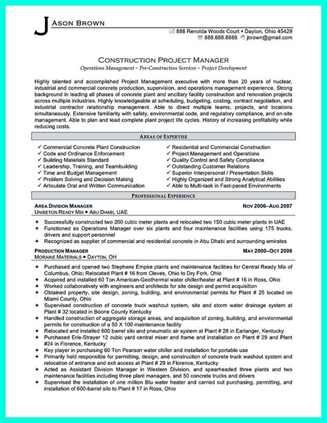 Construction Manager Resume Template by Simple Construction Superintendent Resume Exle To Get