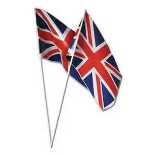 pack of 50 plastic union jack hand waving flags peeks