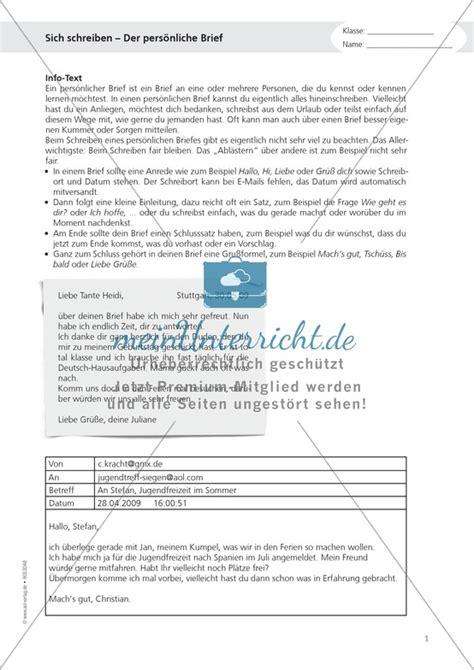 Brief Schreiben Muster Freund Englisch Hauptschule Unterrichtsmaterial Auf Meinunterricht De