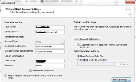 how to reset verizon sub account email password outlook 2013 and outlook 365 on windows 7 can t set up