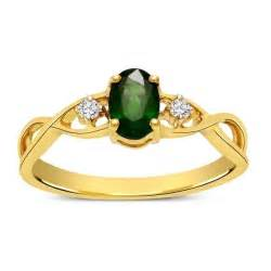 Emerald and diamond infinity engagement ring in yellow gold