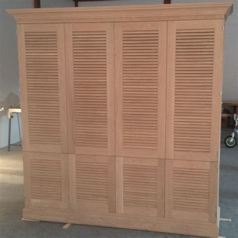 Hand Made Entertaiment Cabinet With Louvered Doors By J Custom Louvered Cabinet Doors