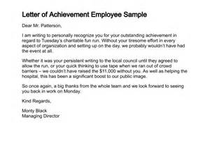 Certification Letter Accomplishment letter of achievement employee sample