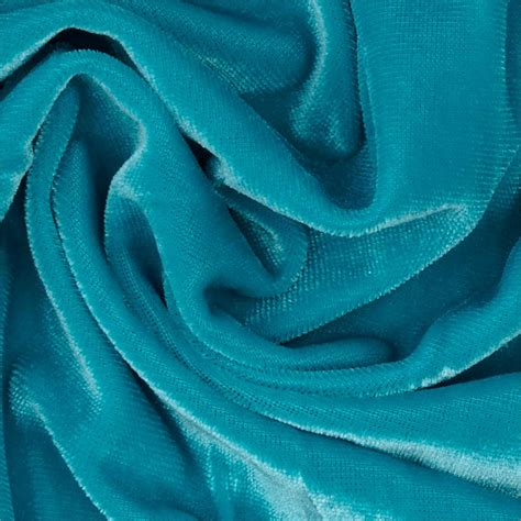 Turquoise Velvet Fabric Upholstery by Stretch Velvet Knit Turquoise Discount Designer Fabric