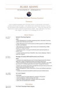 sle resume of network engineer sle resume planning engineer