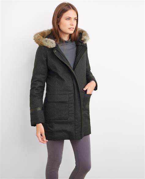 parka femme comptoir des cotonniers flannel hooded parka gris chine bijeanne comptoir des