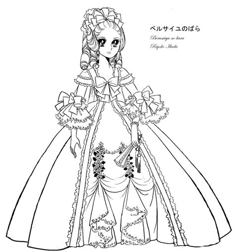 marie antoinette lady oscar coloring sheet line by emilie