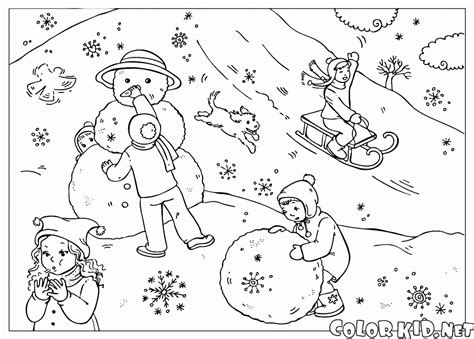 coloring page winter landscape