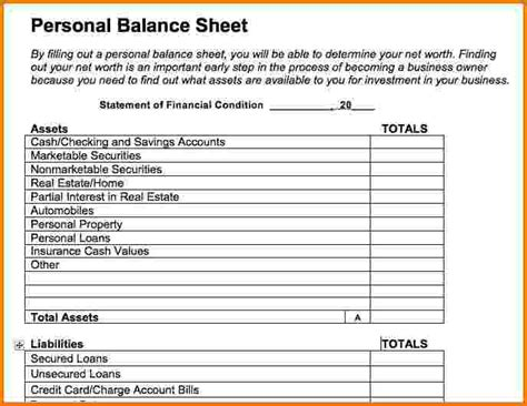 9 Personal Financial Statement Template Excel Financial Statement Form Personal Financial Statement Template Xls
