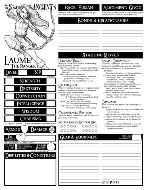 dungeon world character sheets custom dungeon world character sheet the ranger by