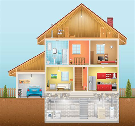 cross section of a house cross section clip art vector images illustrations istock
