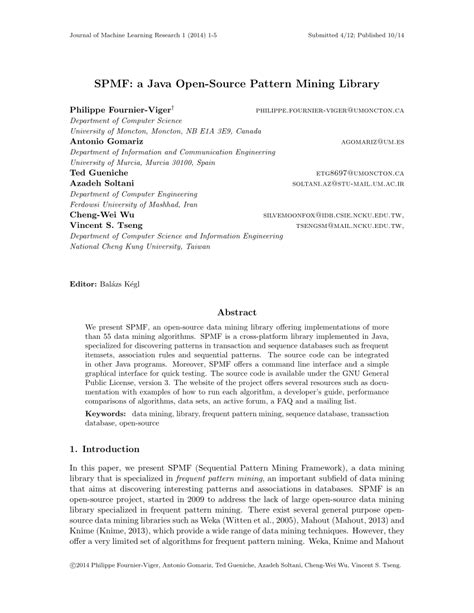 (PDF) SPMF: A java open-source pattern mining library