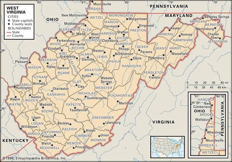 show me a map of virginia state and county maps of west virginia