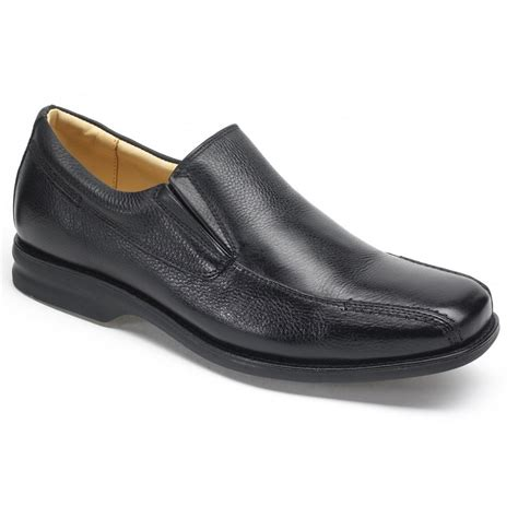 anatomic gel mens belem black grained leather slip on shoes