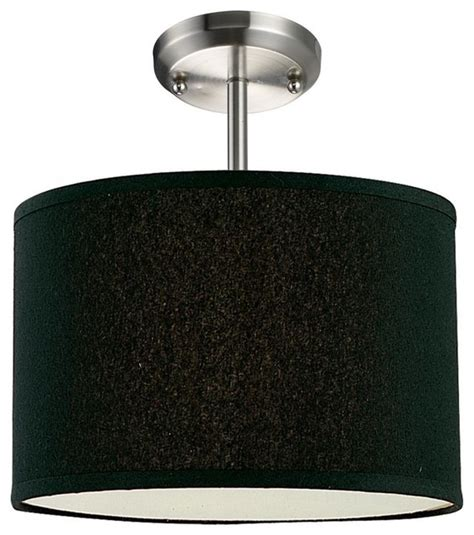 Black Flush Mount Ceiling Light by One Light Brushed Nickel Black Shade Drum Shade Semi Flush
