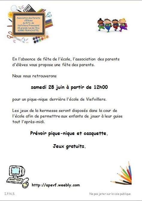 Modele De Lettre Kermesse Association Des Parents D 233 L 232 Ves Des 233 Coles De Viefvillers Et Francastel Actualit 233 S