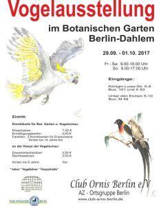 botanischer garten berlin vogelausstellung club ornis berlin e v az ortsgruppe berlin