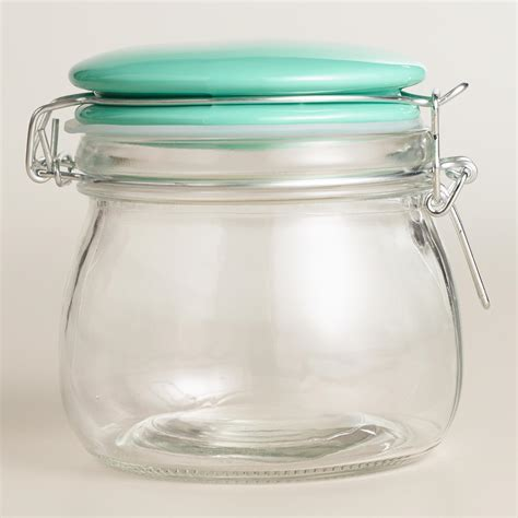small glass canister with mint ceramic cl lid world