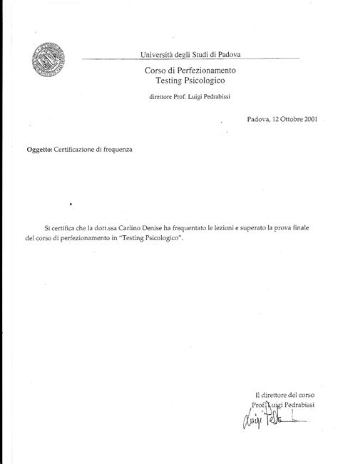 Reference Letter For Theatre Student Attestati Dottoressa Carlino Psicologa