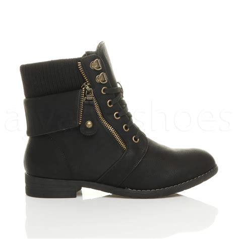 low boots womens low heel lace up knitted cuff zip biker combat army