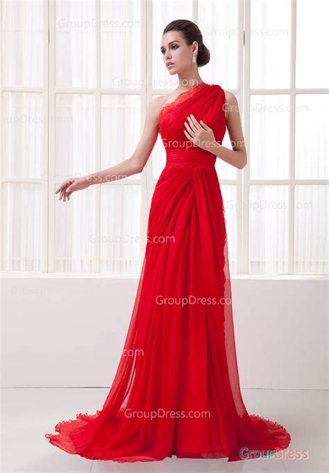 Red One Shoulder Lace Trimmed A line Long Chiffon Evening