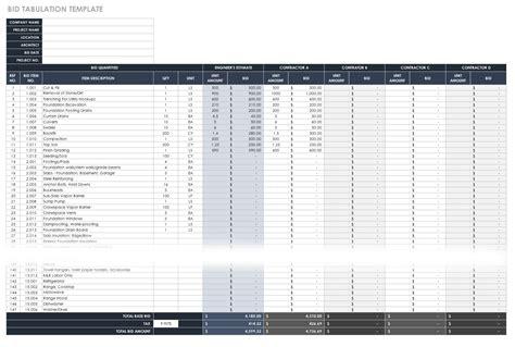 Construction Cost Estimating Basics And Beyond Smartsheet Construction Bid Tabulation Template