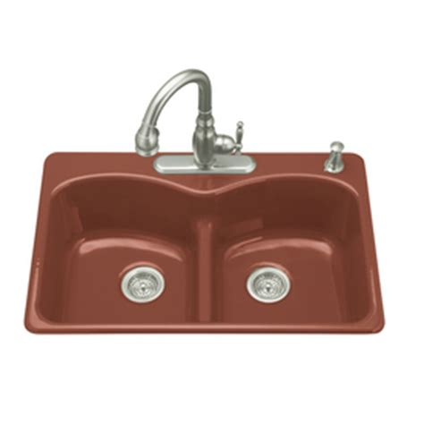 red kitchen sink shop kohler roussillon red 2 hole double basin cast iron