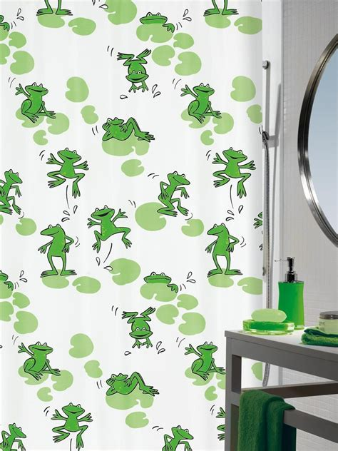 frog shower curtain fabric spirella frog textile shower curtain clevershower