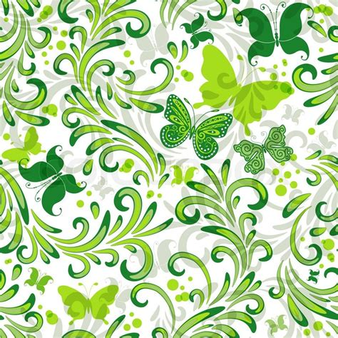floral pattern repeat vector white repeating floral pattern with green curls and